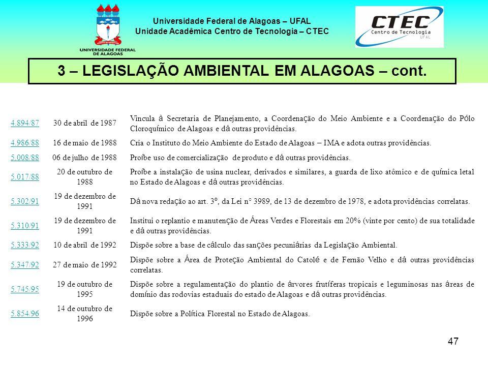 46 Universidade Federal de Alagoas – UFAL Unidade Acadêmica Centro de Tecnologia – CTEC 3 – LEGISLAÇÃO AMBIENTAL EM ALAGOAS 3.543/75 30 de dezembro de