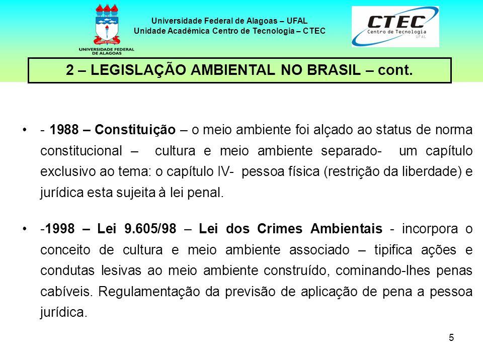 4 Universidade Federal de Alagoas – UFAL Unidade Acadêmica Centro de Tecnologia – CTEC -1981- Lei 9.938/81 – estabelece a Política Nacional do Meio Am