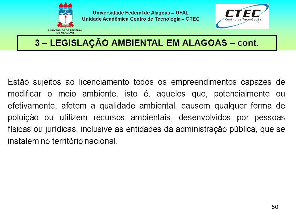 49 Universidade Federal de Alagoas – UFAL Unidade Acadêmica Centro de Tecnologia – CTEC 6.526/04 23 de novembro de 2004 Dispõe sobre a cria ç ão da ca