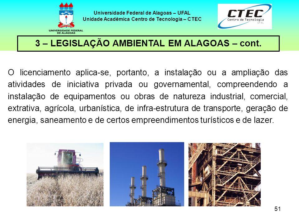 50 Universidade Federal de Alagoas – UFAL Unidade Acadêmica Centro de Tecnologia – CTEC 3 – LEGISLAÇÃO AMBIENTAL EM ALAGOAS – cont. Estão sujeitos ao