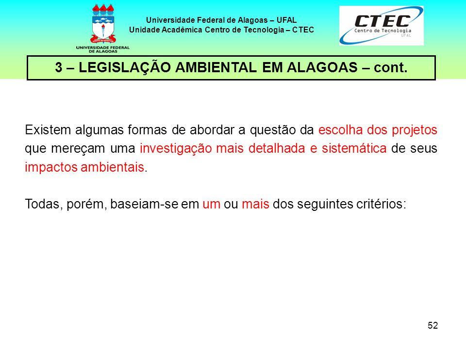 51 Universidade Federal de Alagoas – UFAL Unidade Acadêmica Centro de Tecnologia – CTEC 3 – LEGISLAÇÃO AMBIENTAL EM ALAGOAS – cont. O licenciamento ap