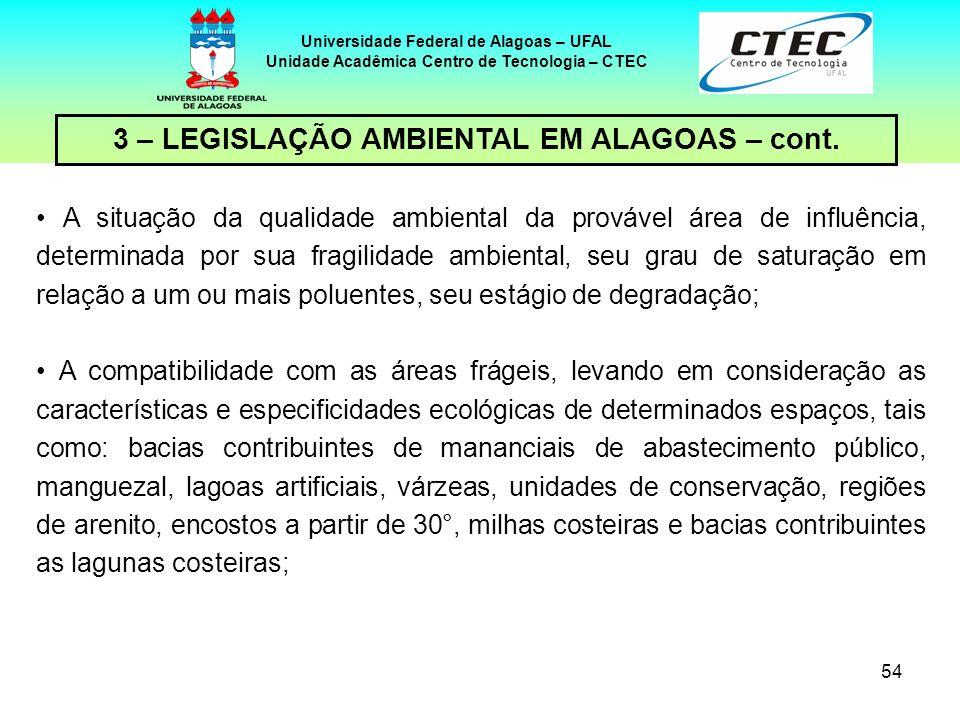 53 Universidade Federal de Alagoas – UFAL Unidade Acadêmica Centro de Tecnologia – CTEC 3 – LEGISLAÇÃO AMBIENTAL EM ALAGOAS – cont. Potencial de impac