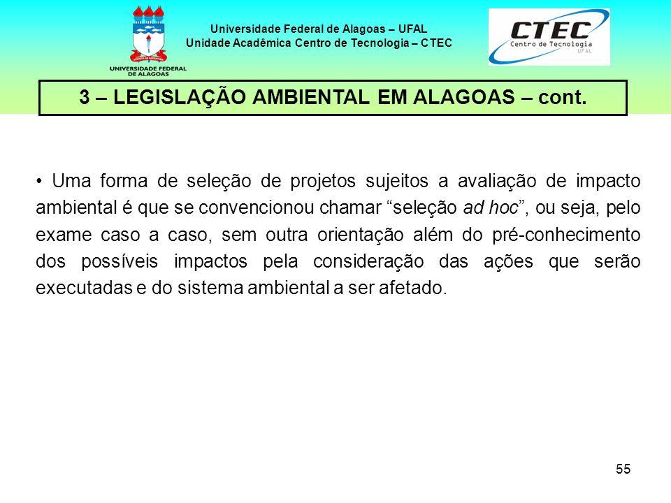 54 Universidade Federal de Alagoas – UFAL Unidade Acadêmica Centro de Tecnologia – CTEC 3 – LEGISLAÇÃO AMBIENTAL EM ALAGOAS – cont. A situação da qual