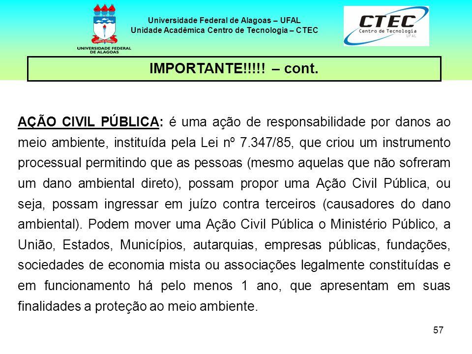 56 Universidade Federal de Alagoas – UFAL Unidade Acadêmica Centro de Tecnologia – CTEC IMPORTANTE!!!!! 03 tipos de dispositivos legais a disposição d
