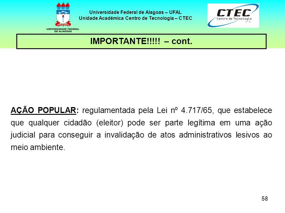 57 Universidade Federal de Alagoas – UFAL Unidade Acadêmica Centro de Tecnologia – CTEC IMPORTANTE!!!!! – cont. AÇÃO CIVIL PÚBLICA: é uma ação de resp