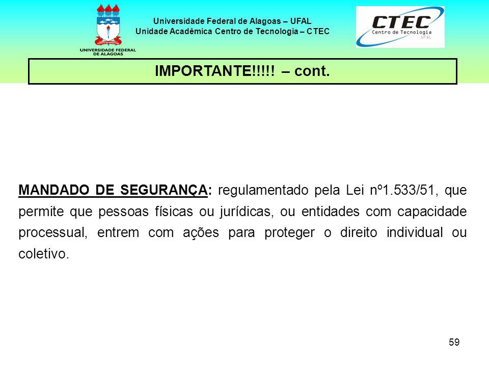 58 Universidade Federal de Alagoas – UFAL Unidade Acadêmica Centro de Tecnologia – CTEC IMPORTANTE!!!!! – cont. AÇÃO POPULAR: regulamentada pela Lei n