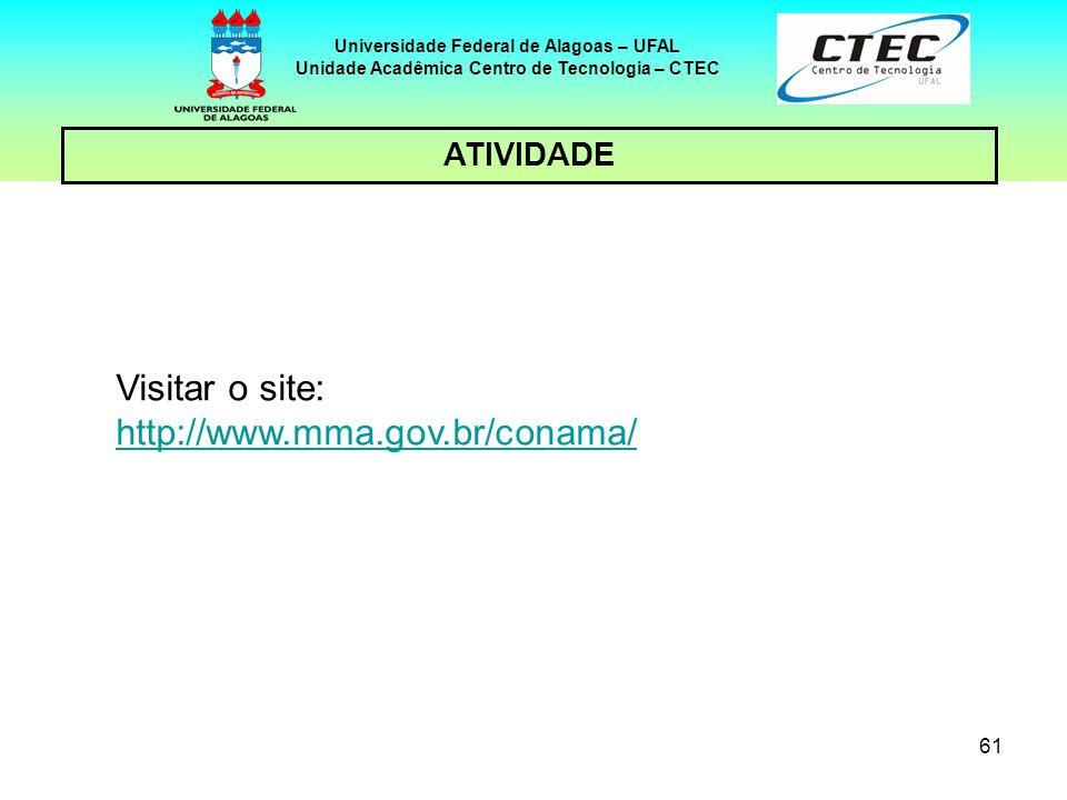 60 Universidade Federal de Alagoas – UFAL Unidade Acadêmica Centro de Tecnologia – CTEC 5 – CONSIDERAÇÕES FINAIS A visão geral da Legislação brasileir