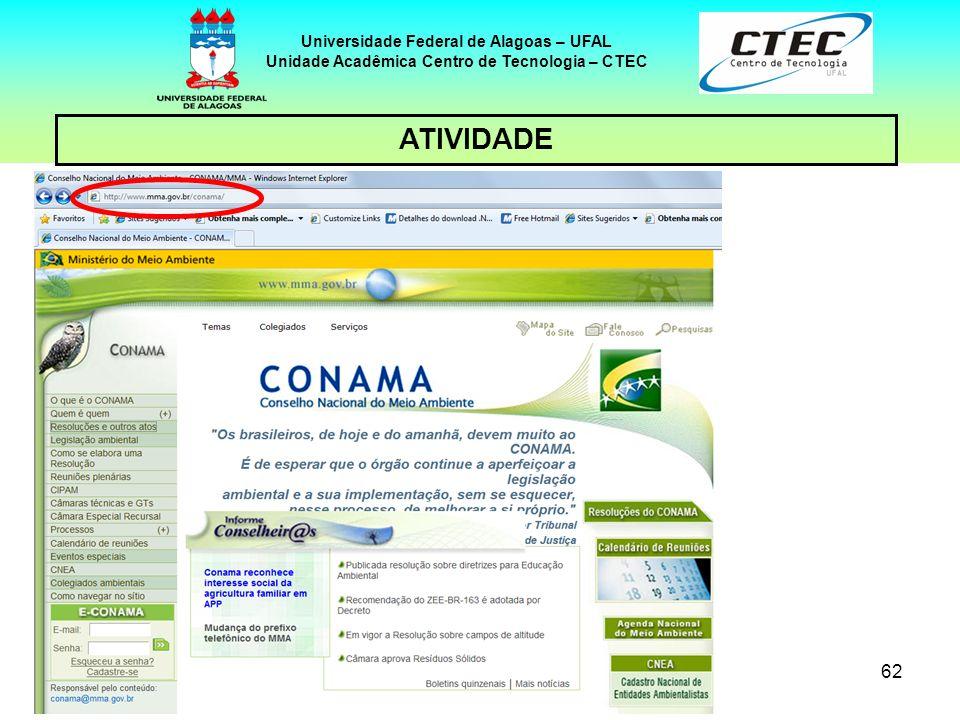 61 Universidade Federal de Alagoas – UFAL Unidade Acadêmica Centro de Tecnologia – CTEC ATIVIDADE Visitar o site: http://www.mma.gov.br/conama/