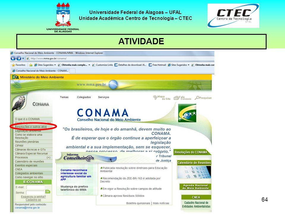 63 Universidade Federal de Alagoas – UFAL Unidade Acadêmica Centro de Tecnologia – CTEC ATIVIDADE Clicar no link: Resoluções e outros atos