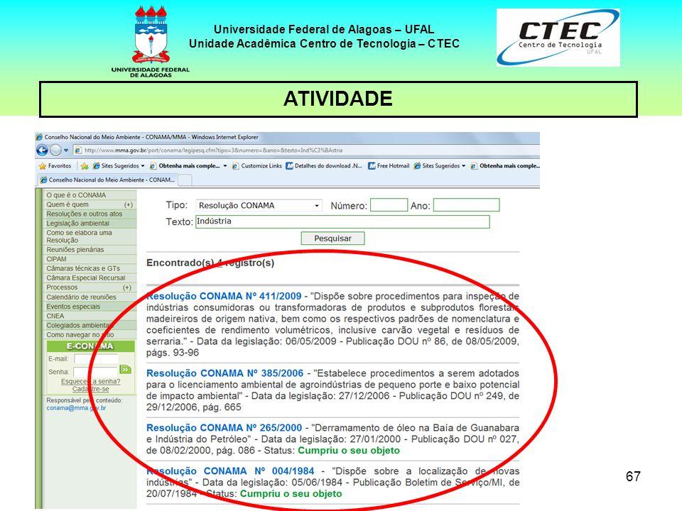 66 Universidade Federal de Alagoas – UFAL Unidade Acadêmica Centro de Tecnologia – CTEC ATIVIDADE