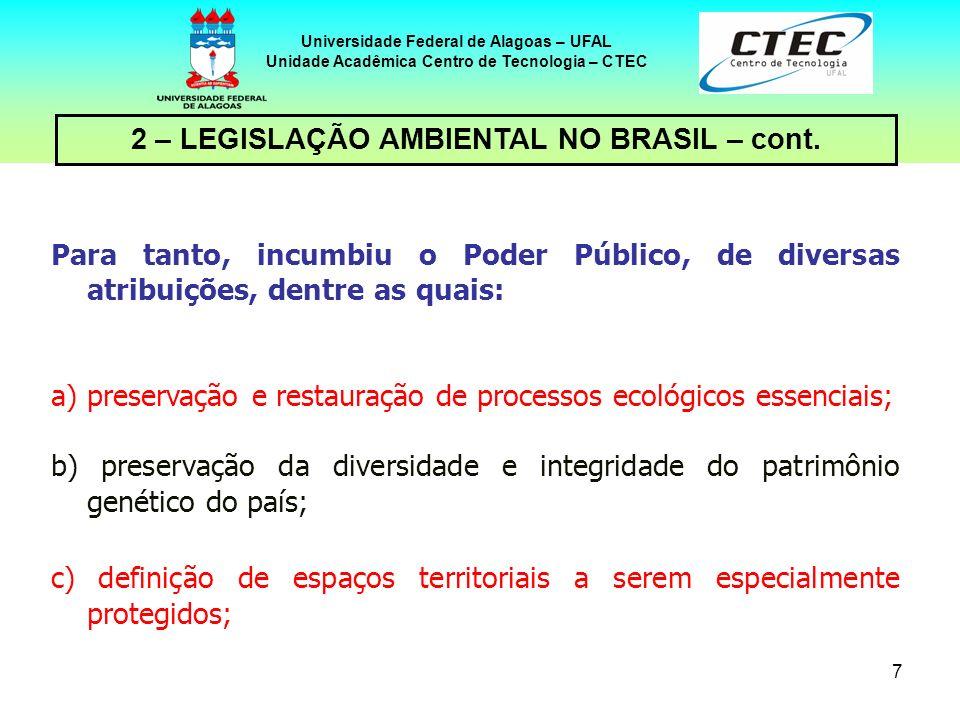 6 Universidade Federal de Alagoas – UFAL Unidade Acadêmica Centro de Tecnologia – CTEC 2 – LEGISLAÇÃO AMBIENTAL NO BRASIL – cont. A Constituição Feder