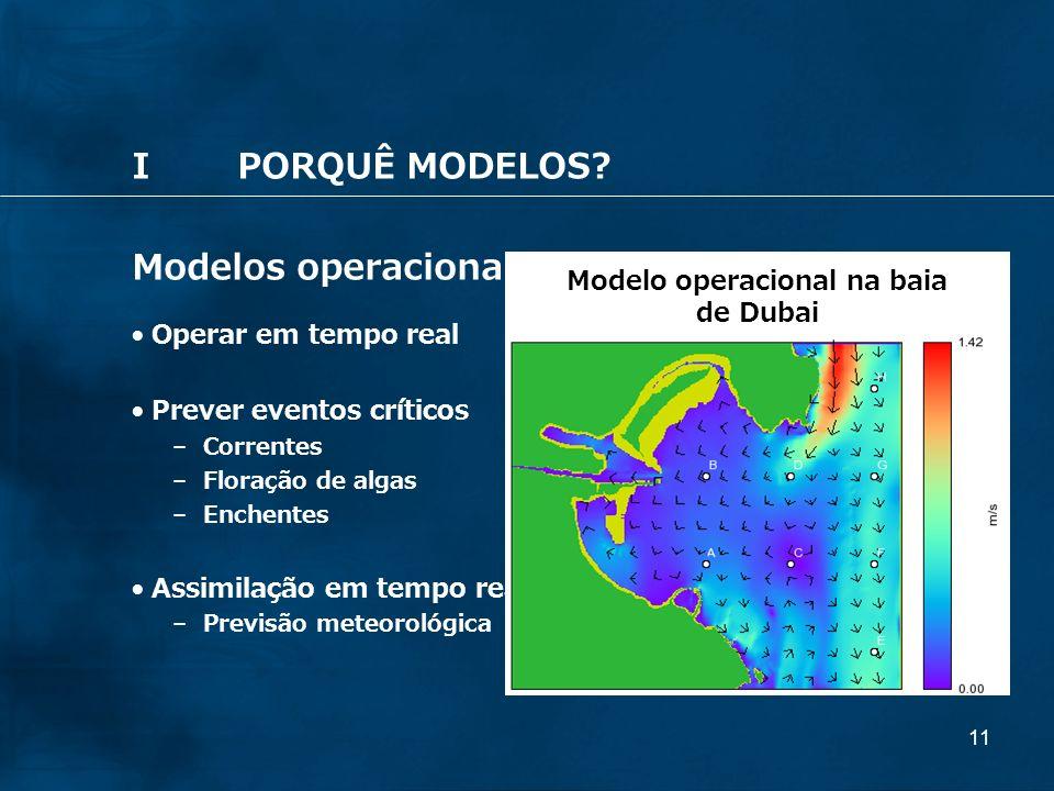 11 IPORQUÊ MODELOS? Modelos operacionais Operar em tempo real Prever eventos críticos – Correntes – Floração de algas – Enchentes Assimilação em tempo