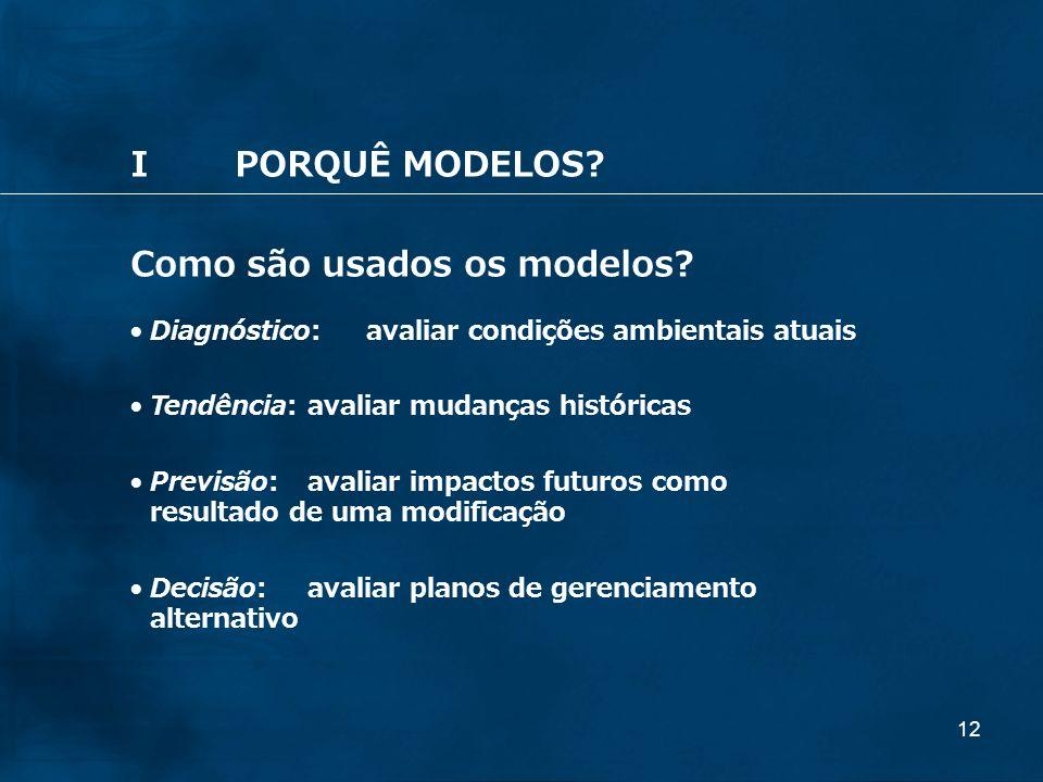 12 IPORQUÊ MODELOS? Como são usados os modelos? Diagnóstico:avaliar condições ambientais atuais Tendência:avaliar mudanças históricas Previsão: avalia