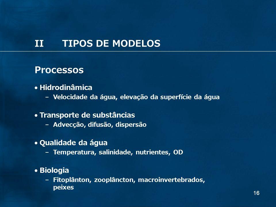 16 IITIPOS DE MODELOS Processos Hidrodinâmica – Velocidade da água, elevação da superfície da água Transporte de substâncias – Advecção, difusão, disp