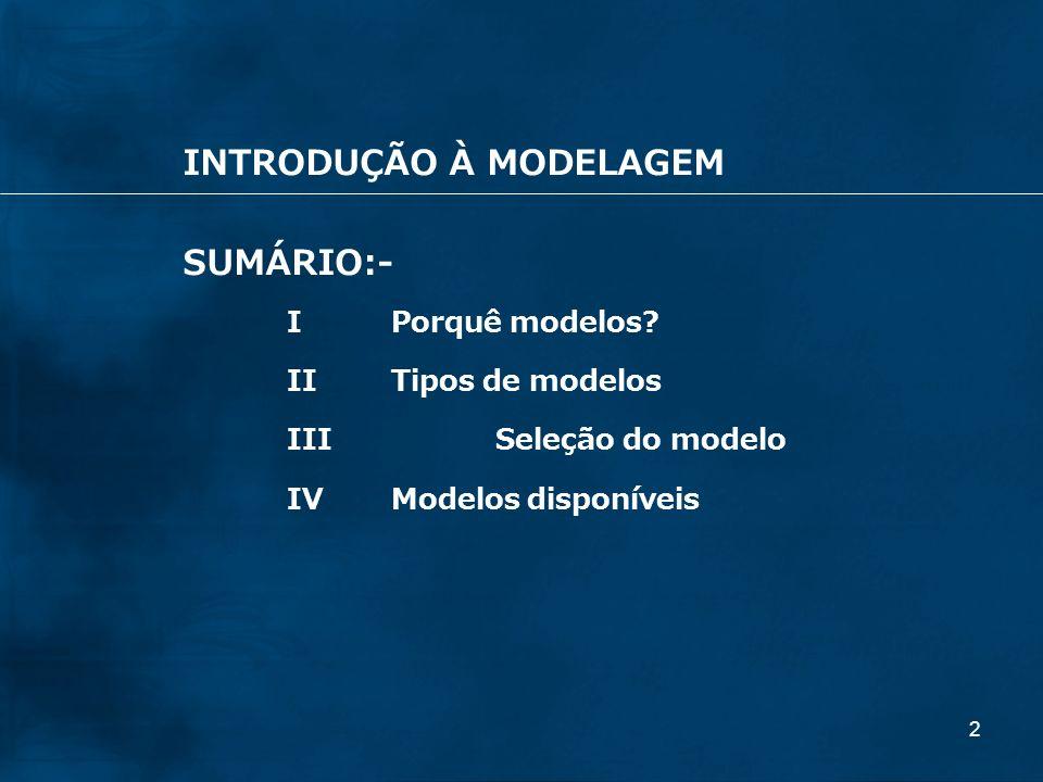 2 SUMÁRIO:- IPorquê modelos? IITipos de modelos IIISeleção do modelo IVModelos disponíveis