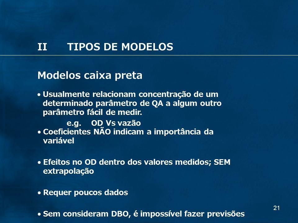 21 IITIPOS DE MODELOS Modelos caixa preta Usualmente relacionam concentração de um determinado parâmetro de QA a algum outro parâmetro fácil de medir.