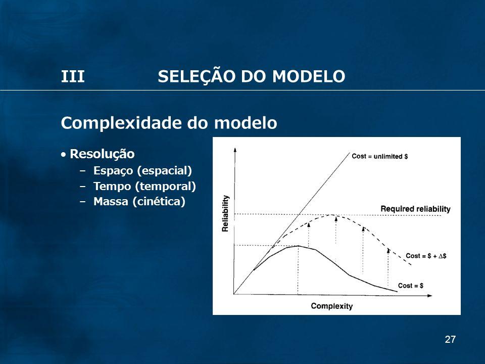 27 IIISELEÇÃO DO MODELO Complexidade do modelo Resolução – Espaço (espacial) – Tempo (temporal) – Massa (cinética)