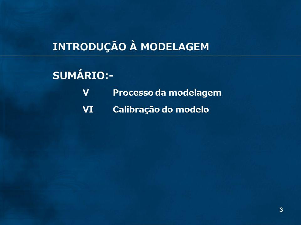 3 INTRODUÇÃO À MODELAGEM SUMÁRIO:- VProcesso da modelagem VICalibração do modelo