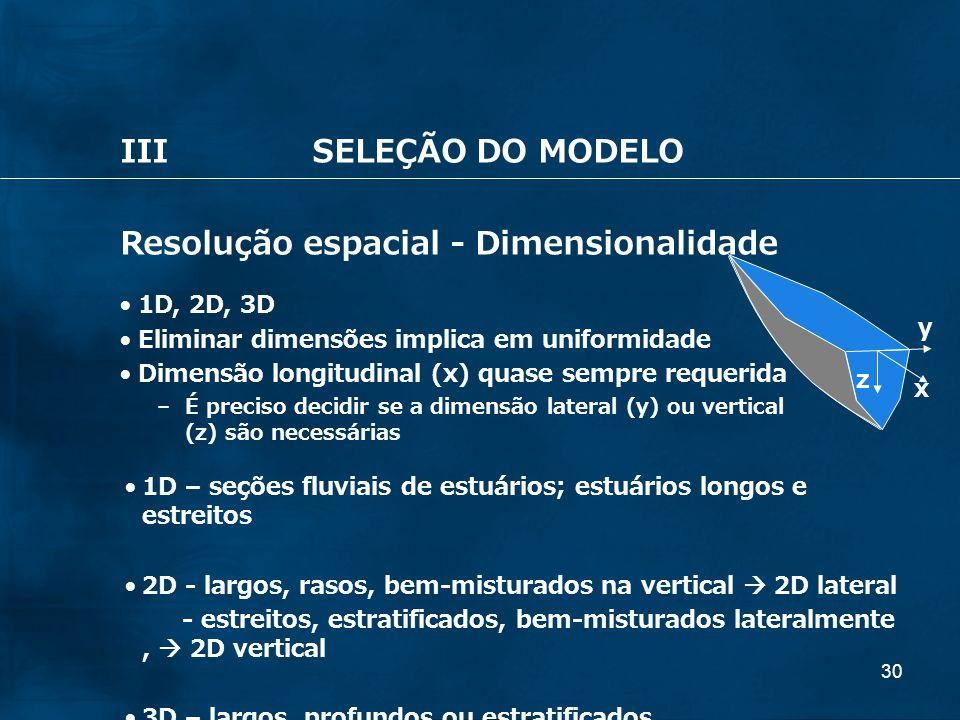 30 IIISELEÇÃO DO MODELO Resolução espacial - Dimensionalidade 1D, 2D, 3D Eliminar dimensões implica em uniformidade Dimensão longitudinal (x) quase se