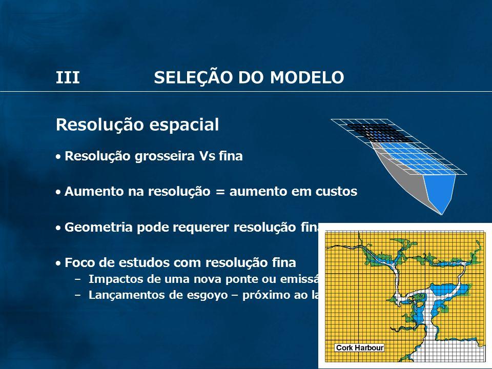 32 IIISELEÇÃO DO MODELO Resolução espacial Resolução grosseira Vs fina Aumento na resolução = aumento em custos Geometria pode requerer resolução fina