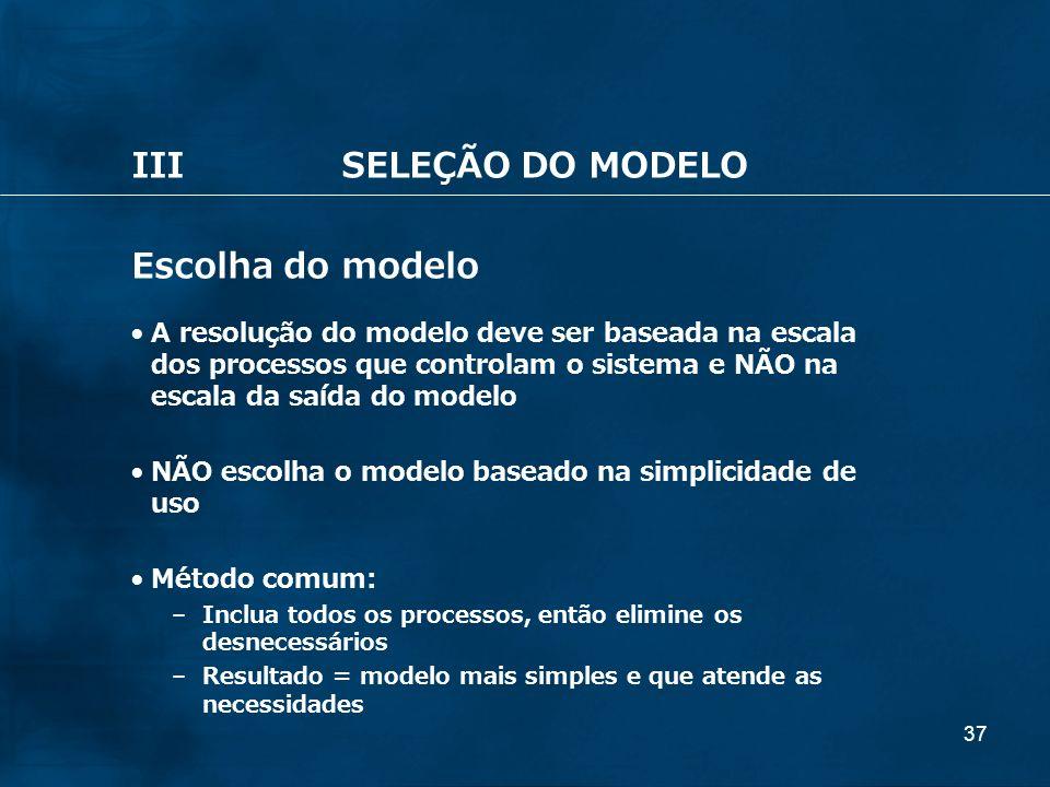 37 IIISELEÇÃO DO MODELO Escolha do modelo A resolução do modelo deve ser baseada na escala dos processos que controlam o sistema e NÃO na escala da sa