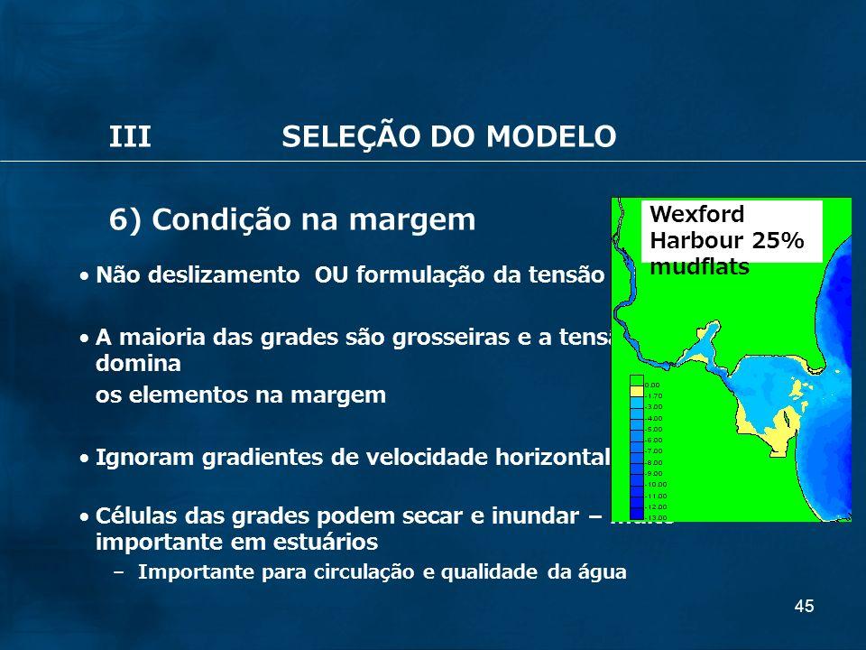 45 IIISELEÇÃO DO MODELO 6) Condição na margem Não deslizamento OU formulação da tensão quadrática A maioria das grades são grosseiras e a tensão do fu