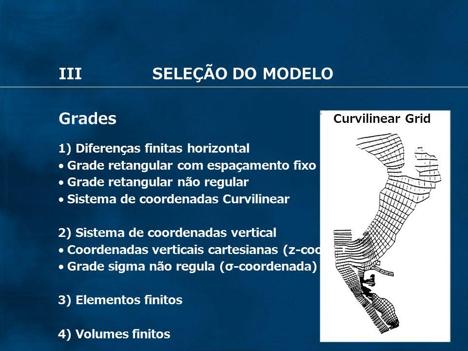 47 IIISELEÇÃO DO MODELO Grades 1) Diferenças finitas horizontal Grade retangular com espaçamento fixo Grade retangular não regular Sistema de coordena