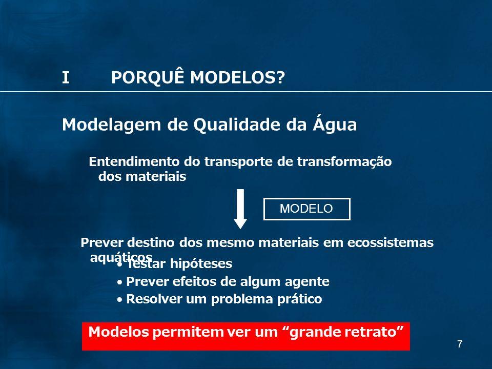 7 Modelagem de Qualidade da Água Entendimento do transporte de transformação dos materiais Prever destino dos mesmo materiais em ecossistemas aquático