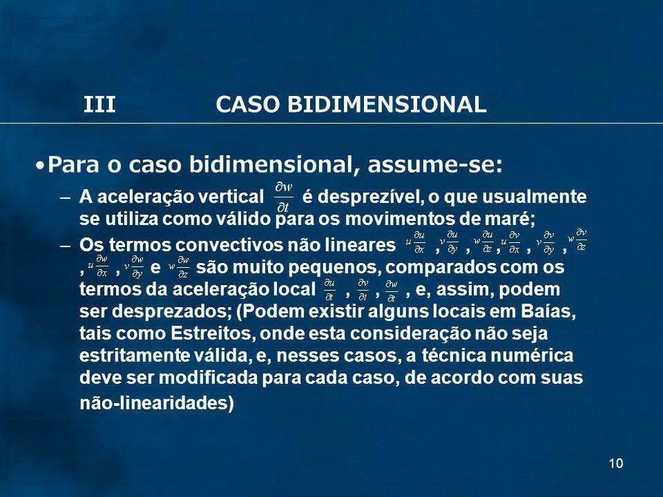 10 IIICASO BIDIMENSIONAL Para o caso bidimensional, assume-se: –A aceleração vertical é desprezível, o que usualmente se utiliza como válido para os m