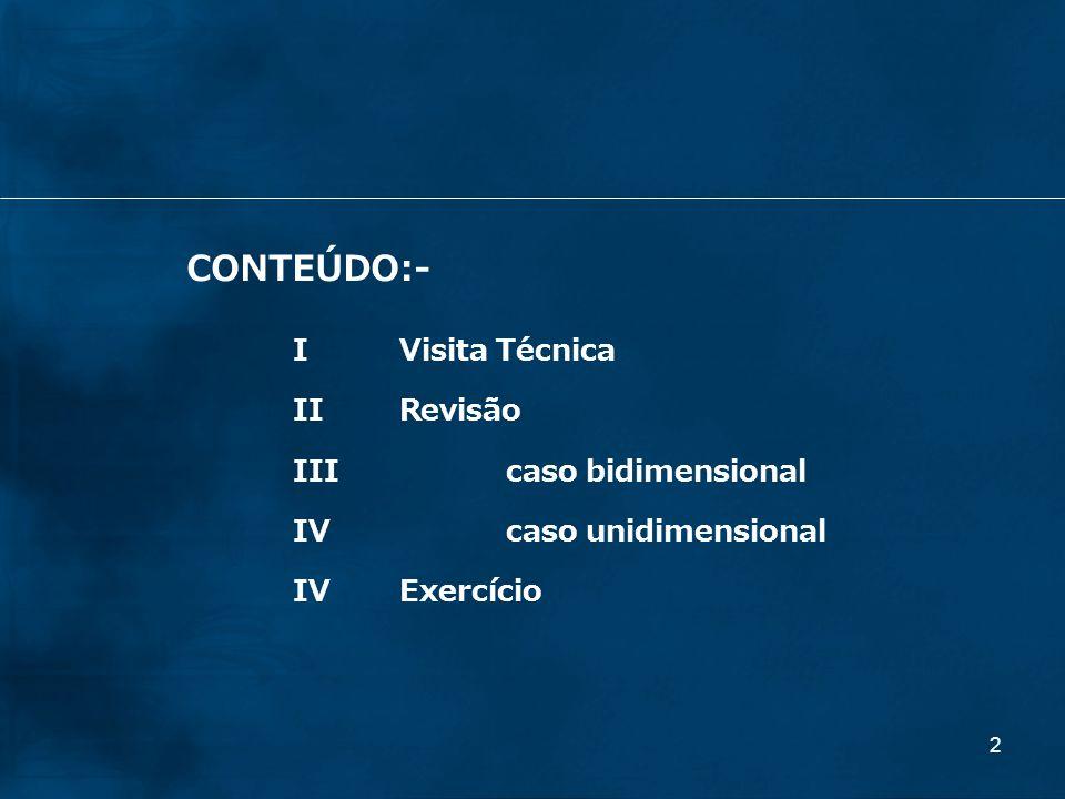 2 CONTEÚDO:- IVisita Técnica IIRevisão IIIcaso bidimensional IV caso unidimensional IVExercício