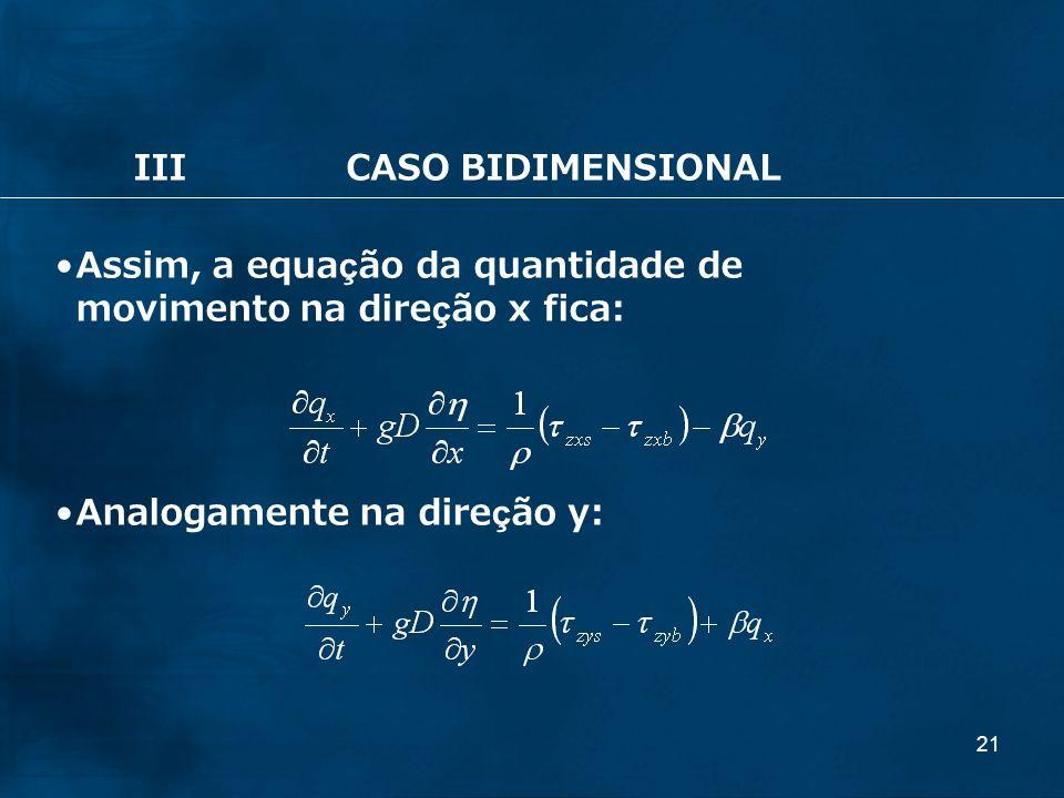 21 IIICASO BIDIMENSIONAL Assim, a equação da quantidade de movimento na direção x fica: Analogamente na direção y: