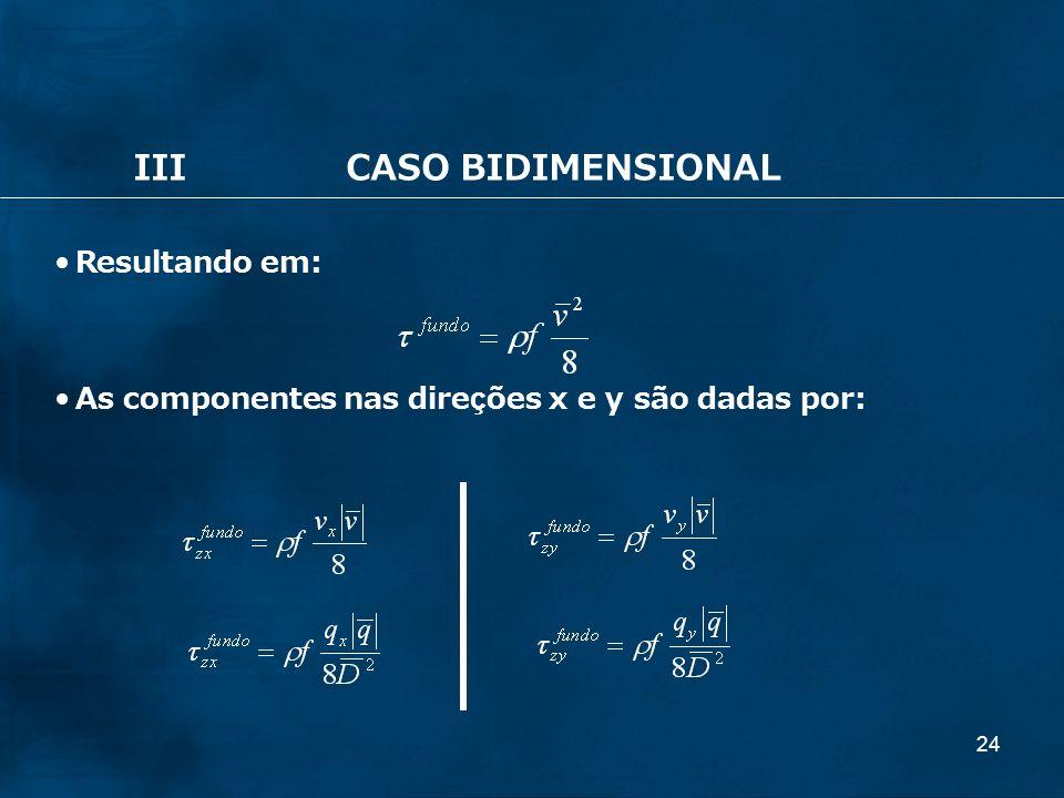 24 IIICASO BIDIMENSIONAL Resultando em: As componentes nas direções x e y são dadas por:
