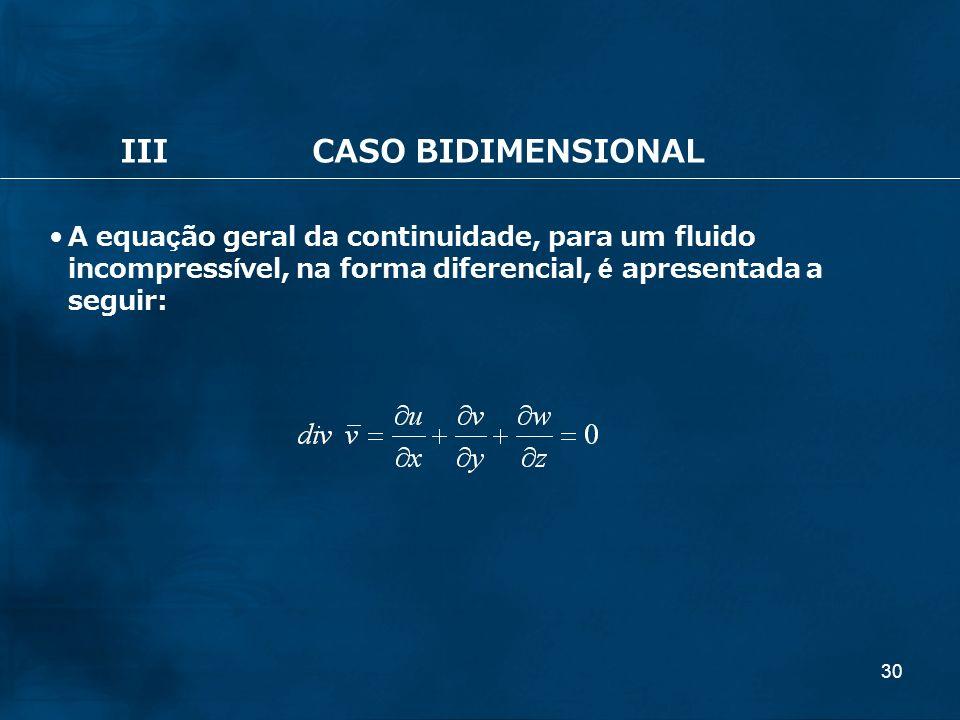 30 IIICASO BIDIMENSIONAL A equação geral da continuidade, para um fluido incompressível, na forma diferencial, é apresentada a seguir: