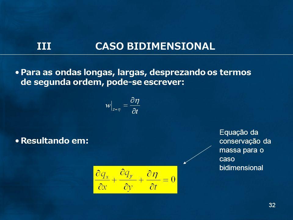 32 IIICASO BIDIMENSIONAL Para as ondas longas, largas, desprezando os termos de segunda ordem, pode-se escrever: Resultando em: Equação da conservação