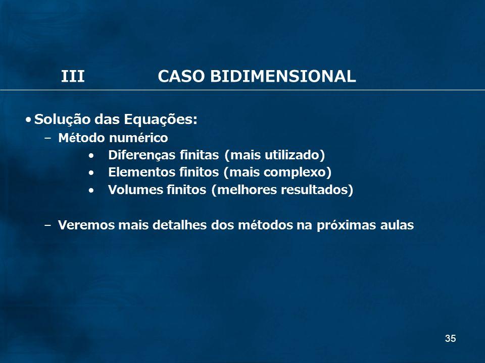 35 IIICASO BIDIMENSIONAL Solução das Equações: – Método numérico Diferenças finitas (mais utilizado) Elementos finitos (mais complexo) Volumes finitos