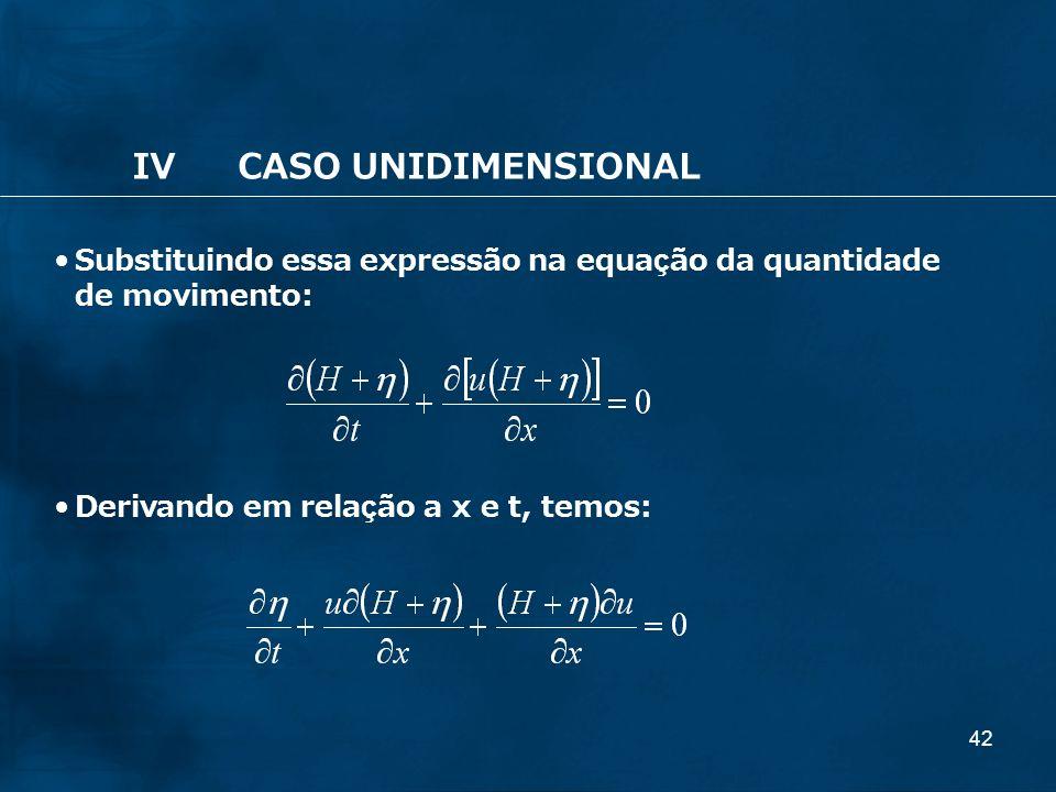 42 IVCASO UNIDIMENSIONAL Substituindo essa expressão na equação da quantidade de movimento: Derivando em relação a x e t, temos: