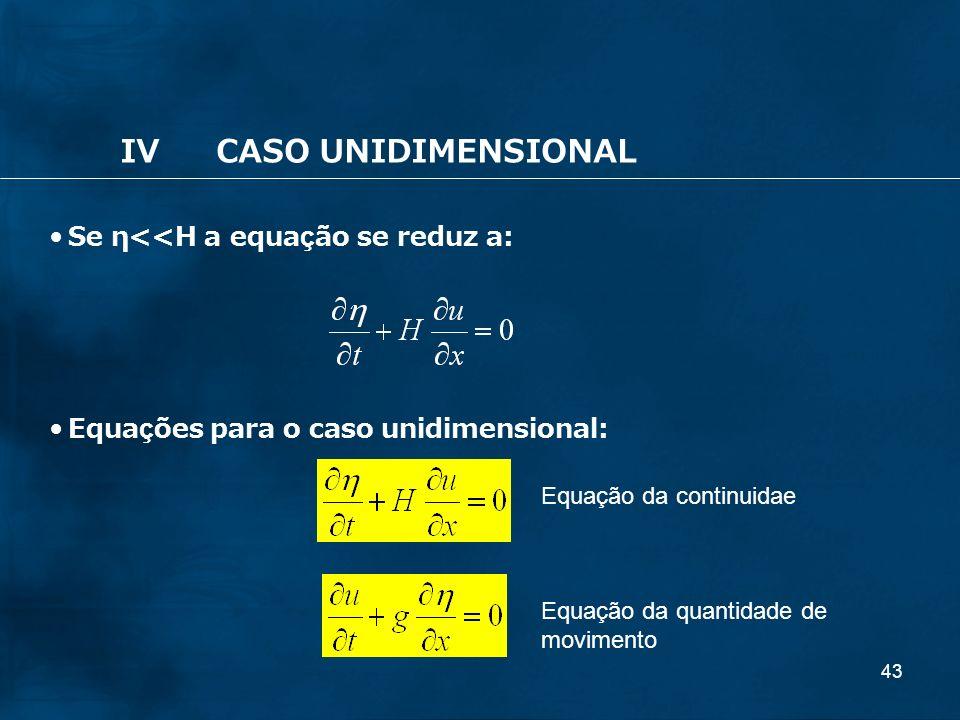 43 IVCASO UNIDIMENSIONAL Se η<<H a equação se reduz a: Equações para o caso unidimensional: Equação da continuidae Equação da quantidade de movimento