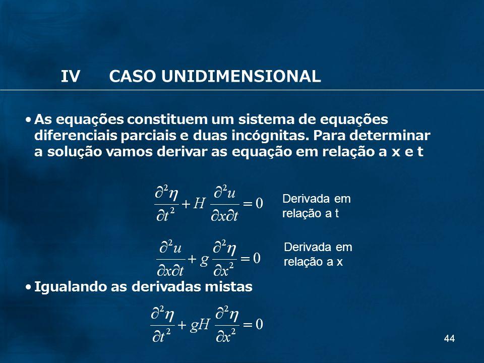 44 IVCASO UNIDIMENSIONAL As equações constituem um sistema de equações diferenciais parciais e duas incógnitas. Para determinar a solução vamos deriva