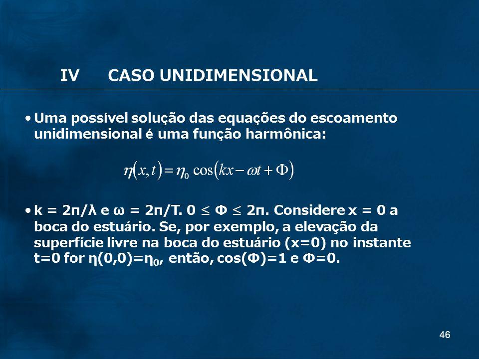 46 IVCASO UNIDIMENSIONAL Uma possível solução das equações do escoamento unidimensional é uma função harmônica: k = 2π/λ e ω = 2π/T. 0 Φ 2π. Considere