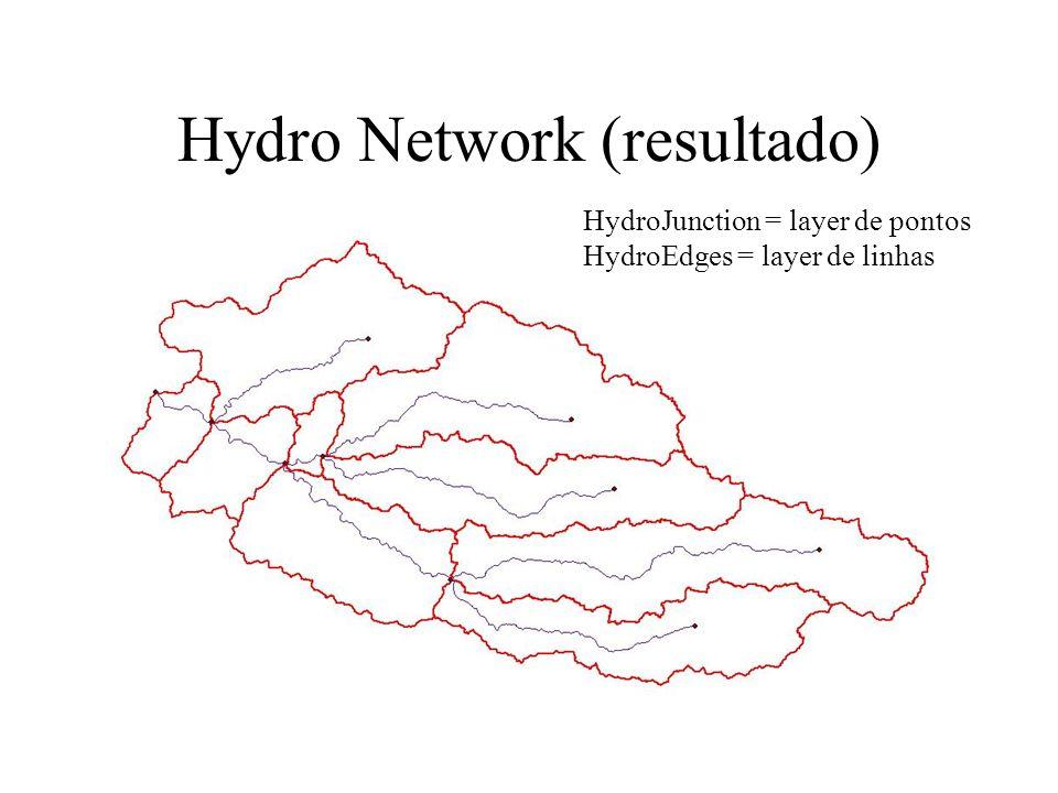 Hydro Network (resultado) HydroJunction = layer de pontos HydroEdges = layer de linhas