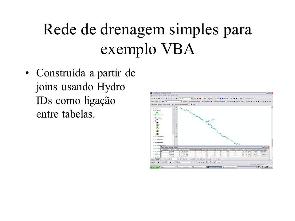 Rede de drenagem simples para exemplo VBA Construída a partir de joins usando Hydro IDs como ligação entre tabelas.