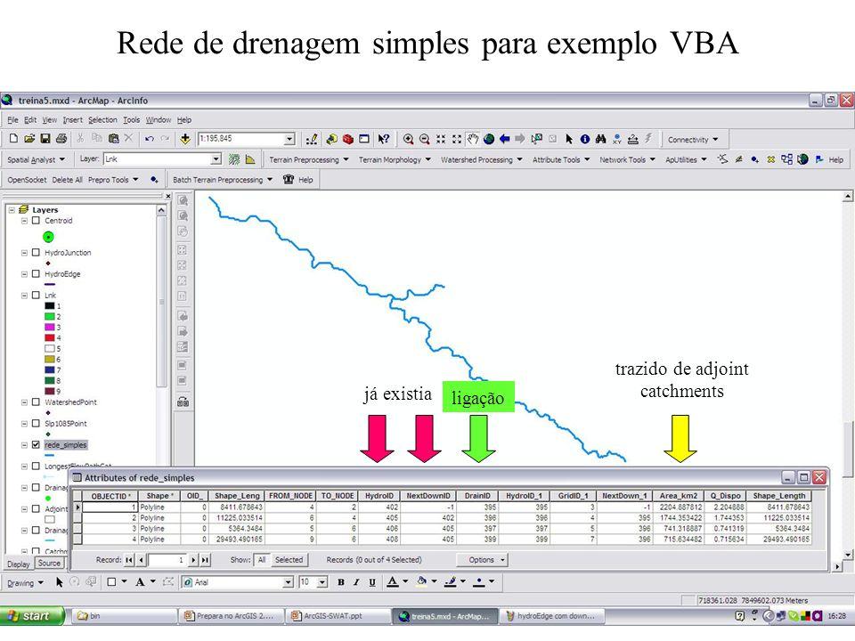 Rede de drenagem simples para exemplo VBA trazido de adjoint catchments já existia ligação