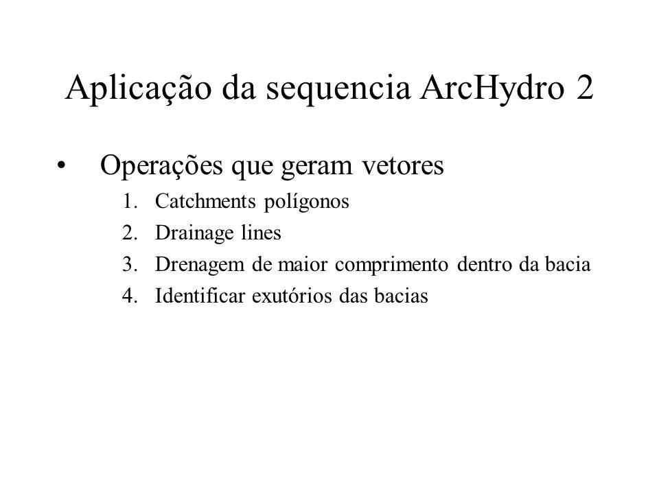Aplicação da sequencia ArcHydro 2 Operações que geram vetores 1.Catchments polígonos 2.Drainage lines 3.Drenagem de maior comprimento dentro da bacia