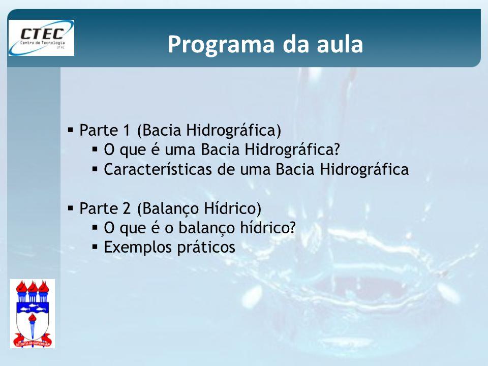 Programa da aula Parte 1 (Bacia Hidrográfica) O que é uma Bacia Hidrográfica? Características de uma Bacia Hidrográfica Parte 2 (Balanço Hídrico) O qu