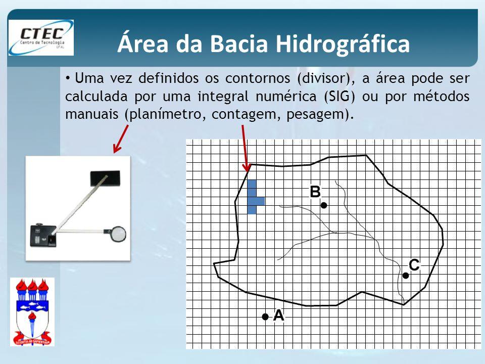 Uma vez definidos os contornos (divisor), a área pode ser calculada por uma integral numérica (SIG) ou por métodos manuais (planímetro, contagem, pesa