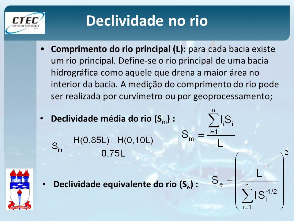 Declividade no rio Comprimento do rio principal (L): para cada bacia existe um rio principal. Define-se o rio principal de uma bacia hidrográfica como