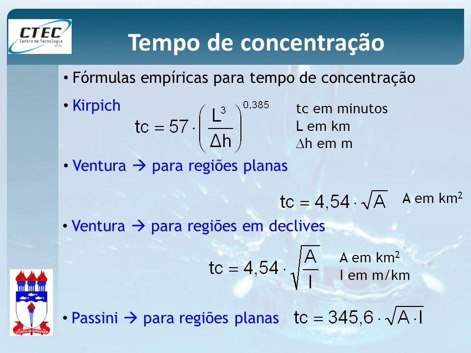 Fórmulas empíricas para tempo de concentração tc em minutos L em km h em m Kirpich Tempo de concentração Ventura para regiões planas A em km 2 Ventura