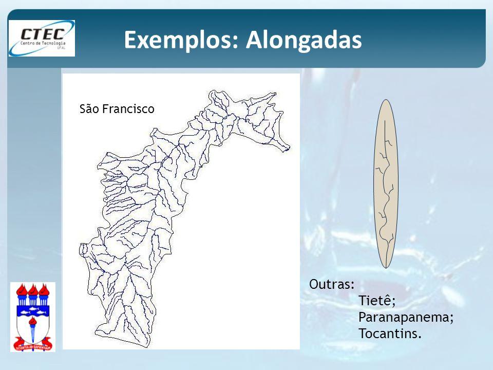 São Francisco Outras: Tietê; Paranapanema; Tocantins. Exemplos: Alongadas