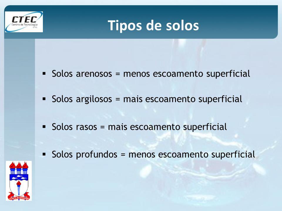 Solos arenosos = menos escoamento superficial Solos argilosos = mais escoamento superficial Solos rasos = mais escoamento superficial Solos profundos