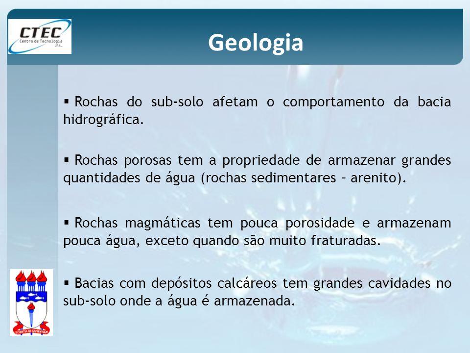 Rochas do sub-solo afetam o comportamento da bacia hidrográfica. Rochas porosas tem a propriedade de armazenar grandes quantidades de água (rochas sed